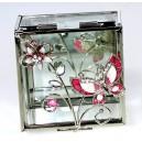 Skleněná klenotnice čirá s růžovým motýlem