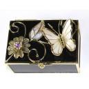Skleněná klenotnice černá, se zlatým motýlem