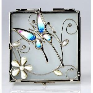 Skleněná klenotnice s modrým motýlem