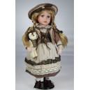 panenka 42 cm hnědý klobouk